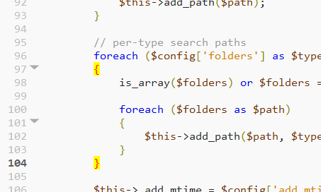 PHP braces highlighting